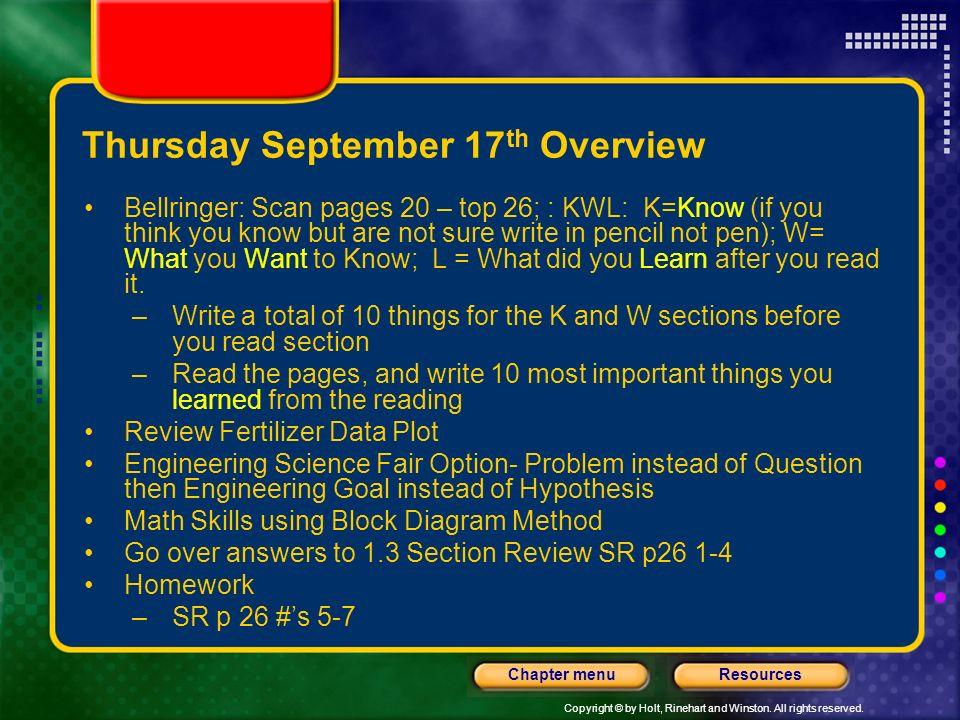 Thursday September 17th Overview