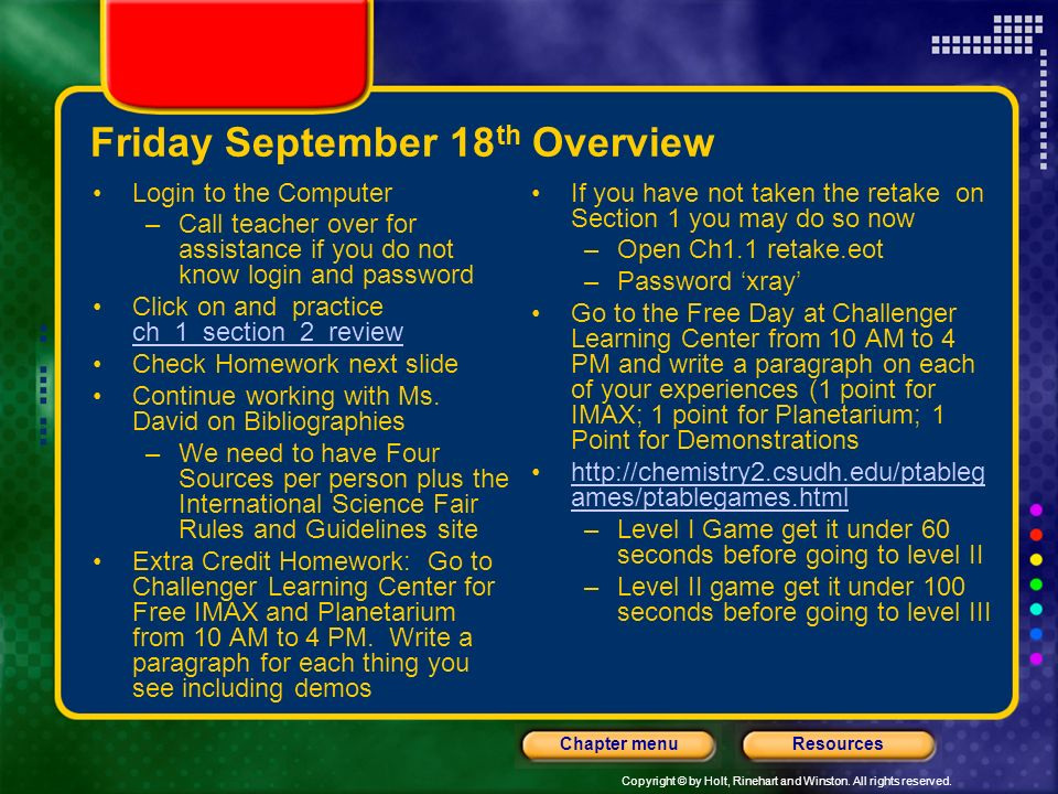 Friday September 18th Overview