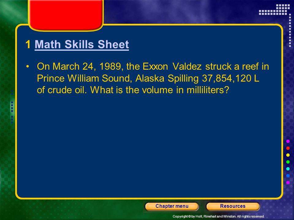 1 Math Skills Sheet