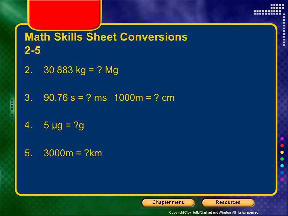 Math Skills Sheet Conversions 2-5