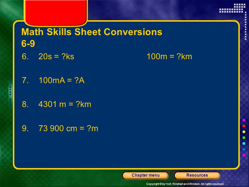 Math Skills Sheet Conversions 6-9