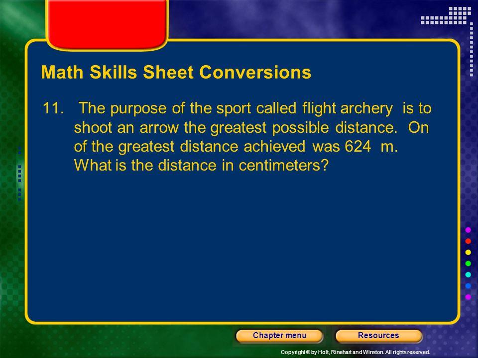 Math Skills Sheet Conversions