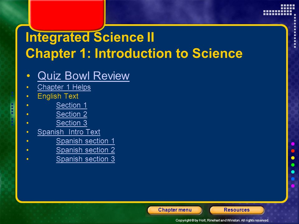 Integrated Science II Chapter 1: Introduction to Science