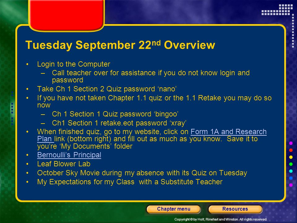Tuesday September 22nd Overview