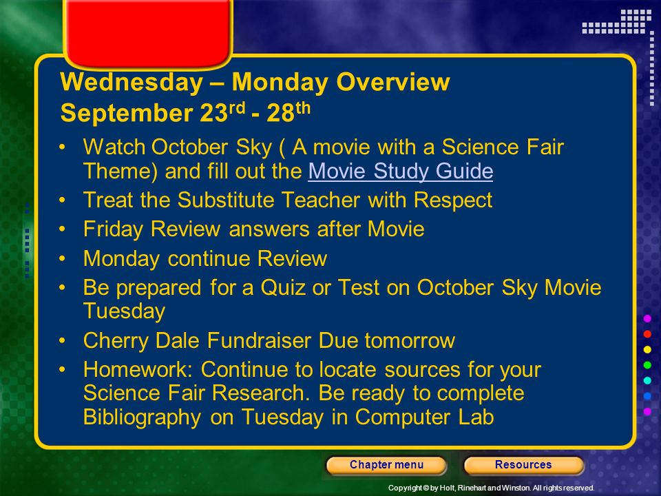 Wednesday – Monday Overview September 23rd - 28th