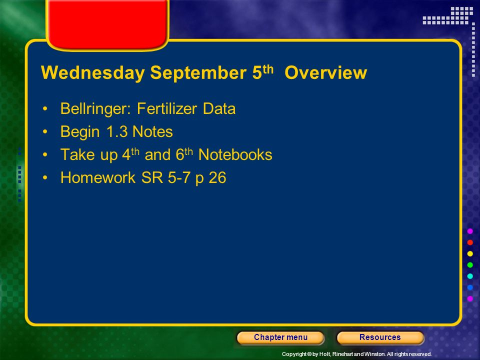 Wednesday September 5th Overview
