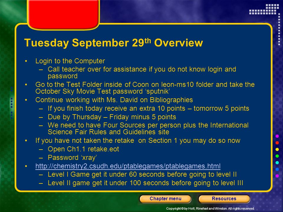 Tuesday September 29th Overview