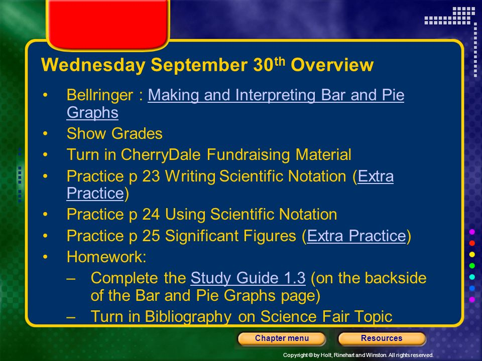 Wednesday September 30th Overview