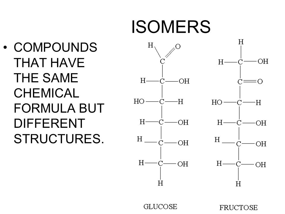 ISOMERS COMPOUNDS THAT HAVE THE SAME CHEMICAL FORMULA BUT DIFFERENT STRUCTURES.