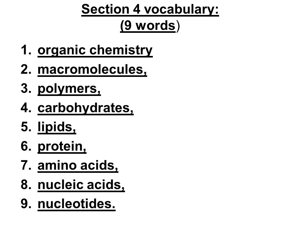 Section 4 vocabulary: (9 words)