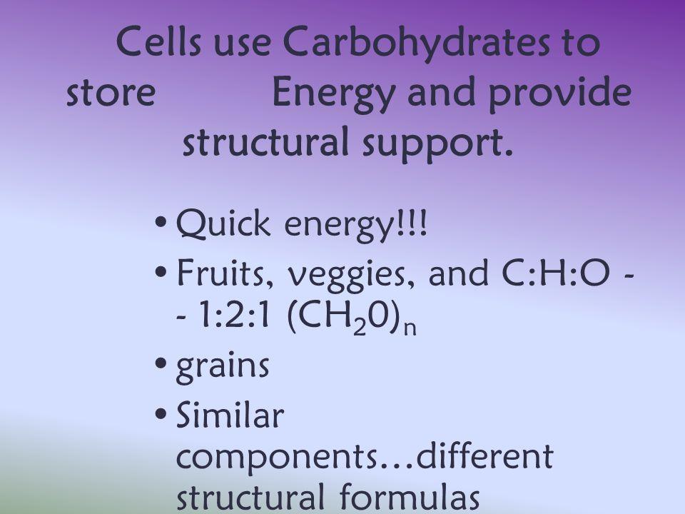Fruits, veggies, and C:H:O -- 1:2:1 (CH20)n grains