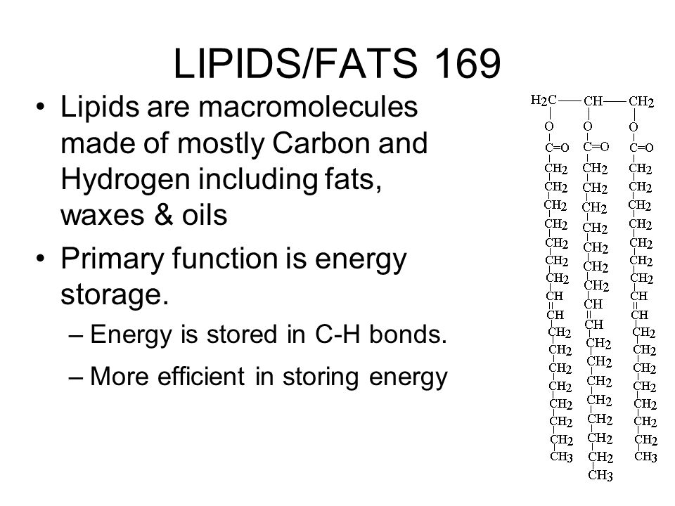 LIPIDS/FATS 169 Lipids are macromolecules made of mostly Carbon and Hydrogen including fats, waxes & oils.