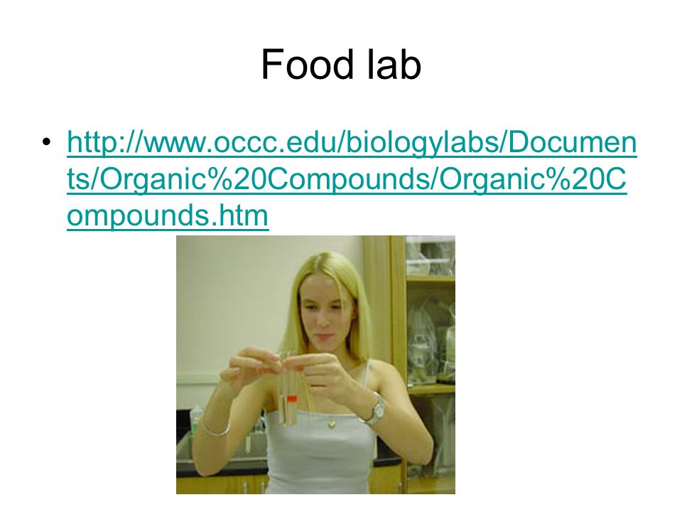 Food lab http://www.occc.edu/biologylabs/Documents/Organic%20Compounds/Organic%20Compounds.htm