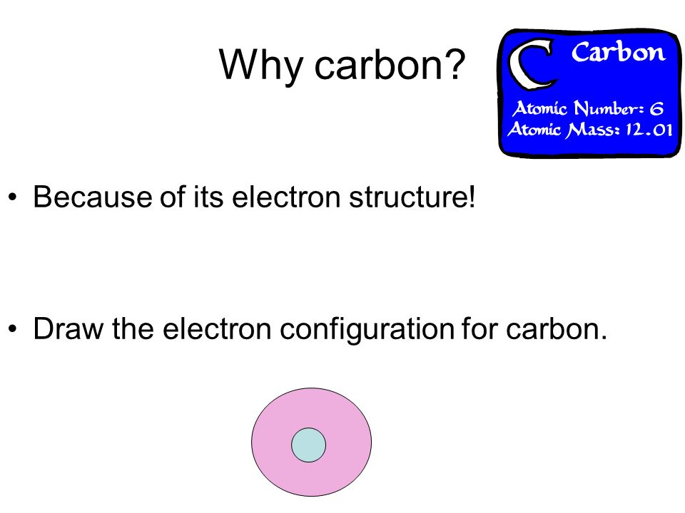 Why carbon Because of its electron structure!
