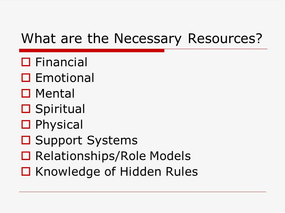 What are the Necessary Resources