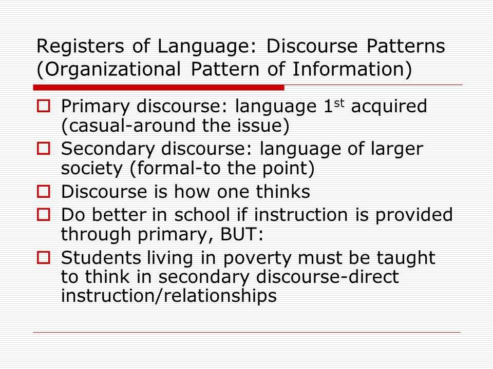Registers of Language: Discourse Patterns (Organizational Pattern of Information)