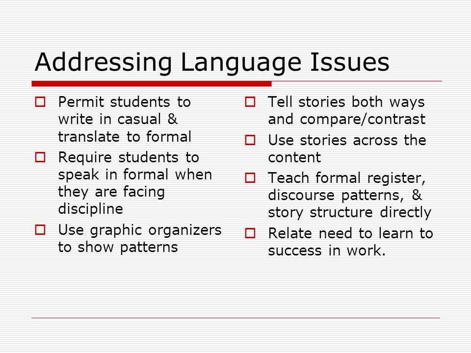 Addressing Language Issues