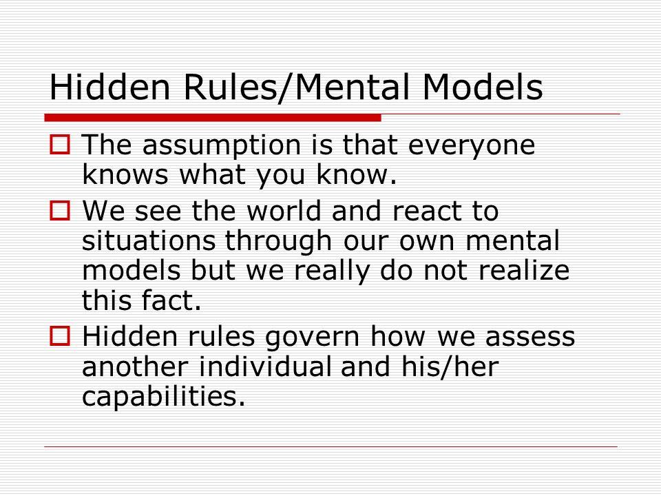 Hidden Rules/Mental Models
