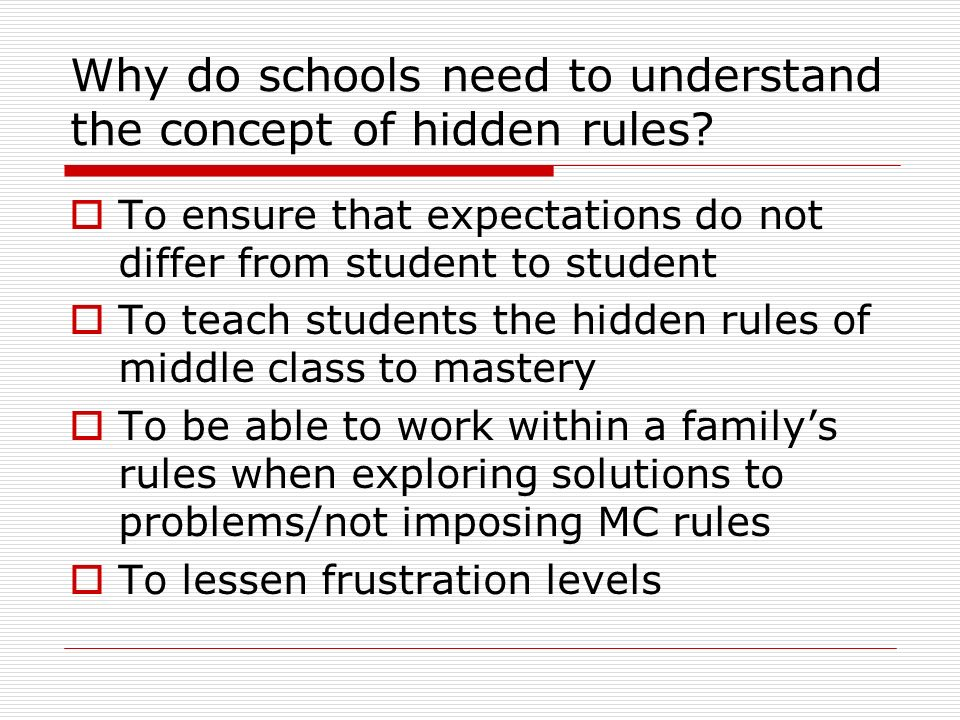 Why do schools need to understand the concept of hidden rules