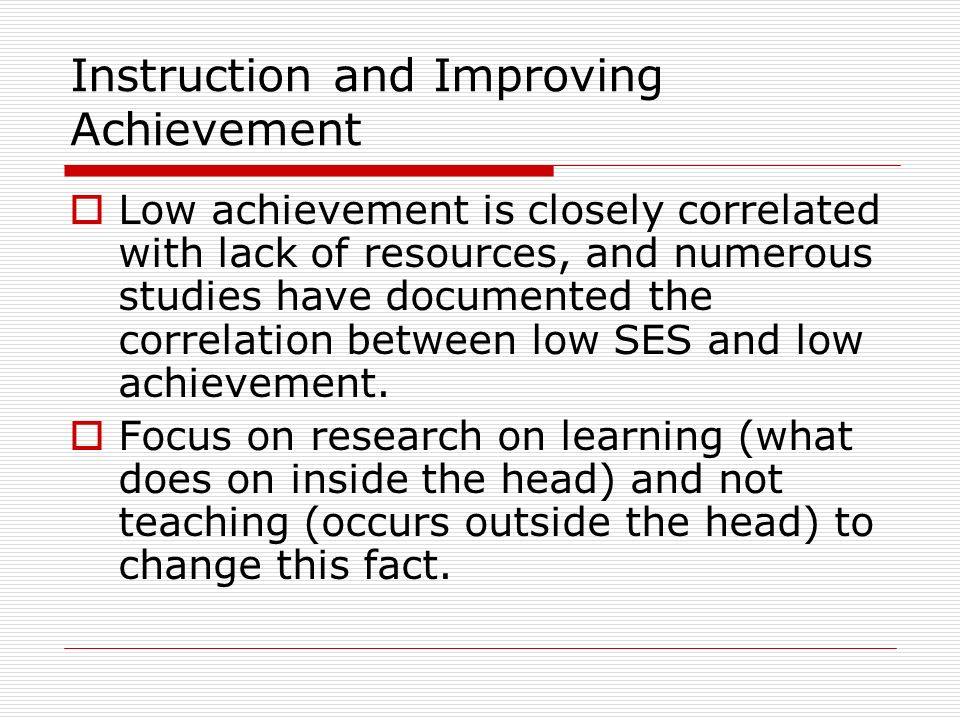 Instruction and Improving Achievement