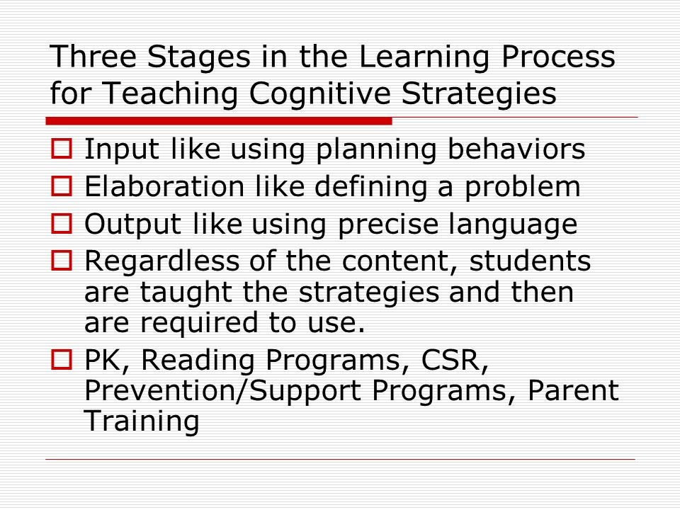 Three Stages in the Learning Process for Teaching Cognitive Strategies