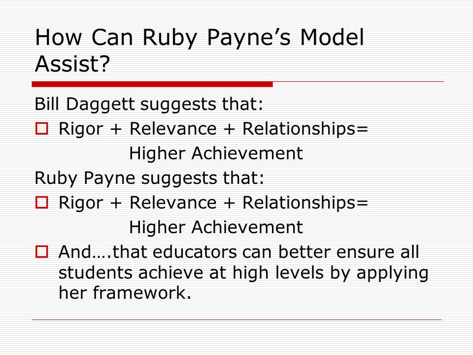 How Can Ruby Payne's Model Assist