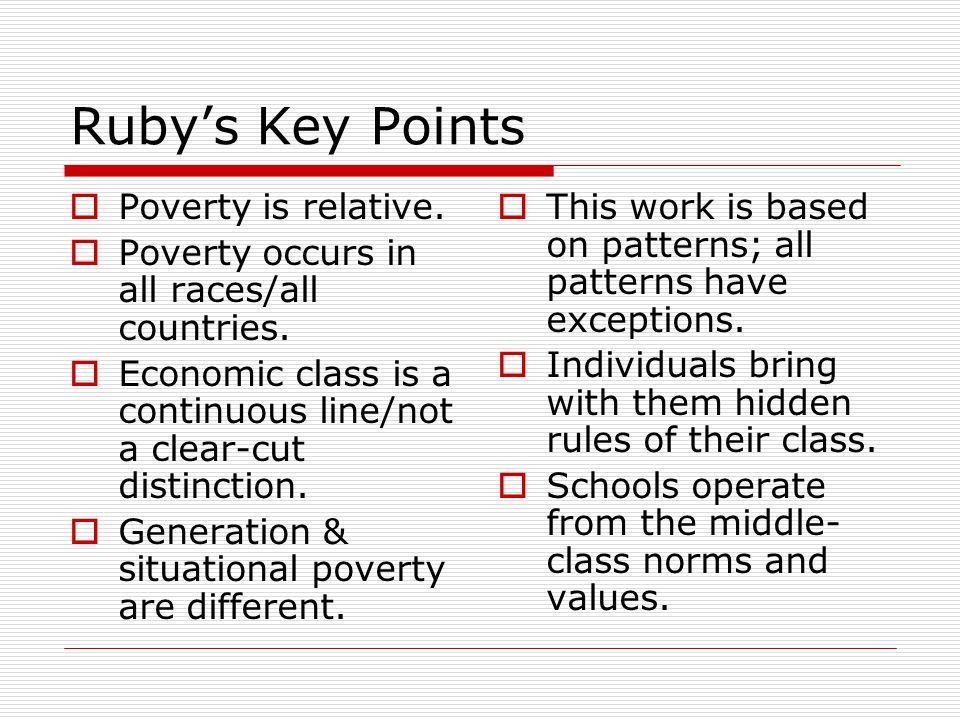 A Framework for Understanding Poverty-An Overview By Ruby K. Payne ...
