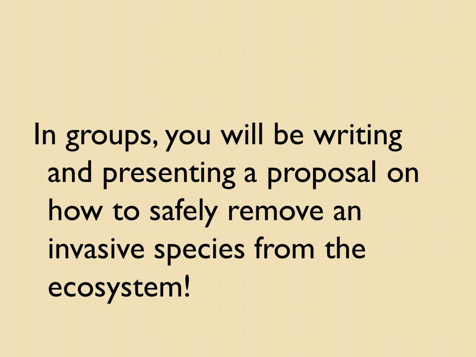In groups, you will be writing and presenting a proposal on how to safely remove an invasive species from the ecosystem!