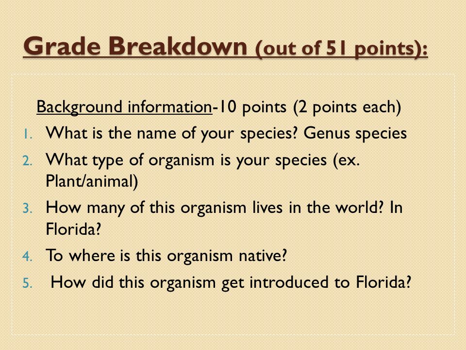 Grade Breakdown (out of 51 points):