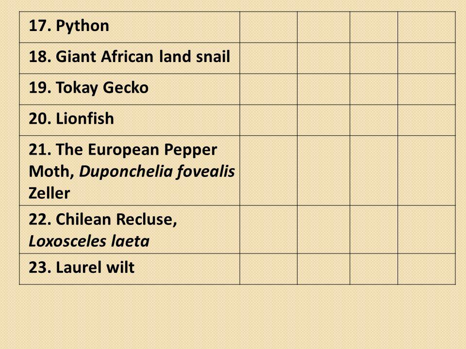 17. Python 18. Giant African land snail. 19. Tokay Gecko. 20. Lionfish. 21. The European Pepper Moth, Duponchelia fovealis Zeller.