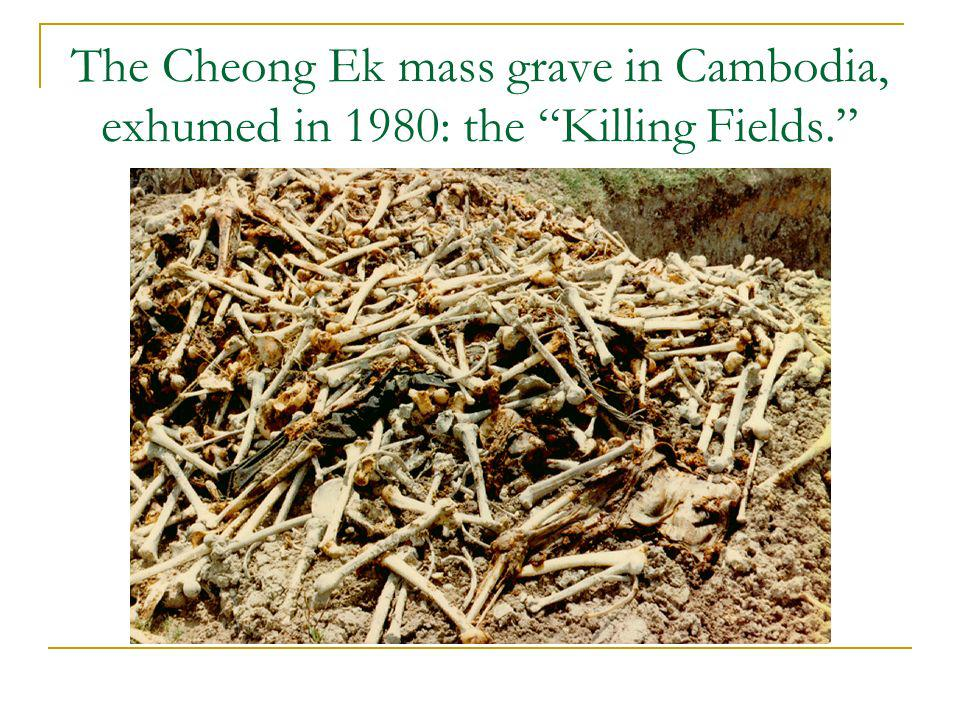 The Cheong Ek mass grave in Cambodia, exhumed in 1980: the Killing Fields.