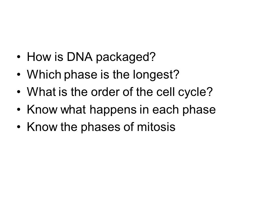 How is DNA packaged Which phase is the longest What is the order of the cell cycle Know what happens in each phase.