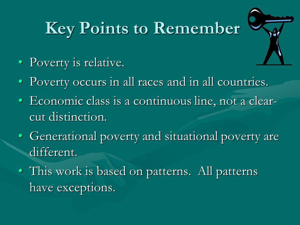 Key Points to Remember Poverty is relative.