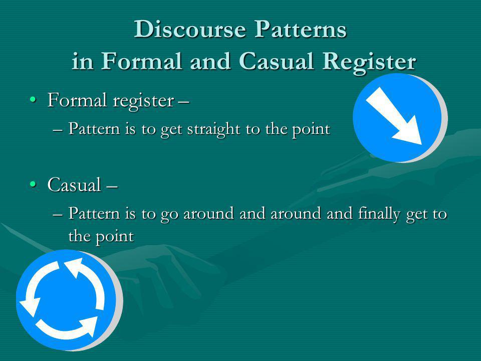 Discourse Patterns in Formal and Casual Register