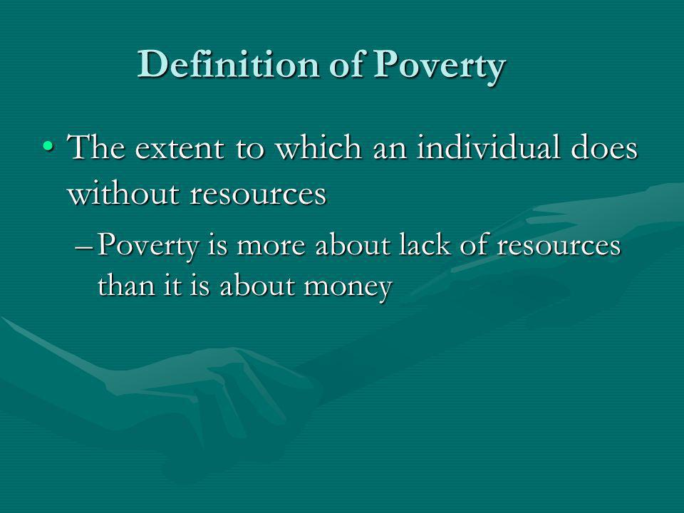 Definition of Poverty The extent to which an individual does without resources.