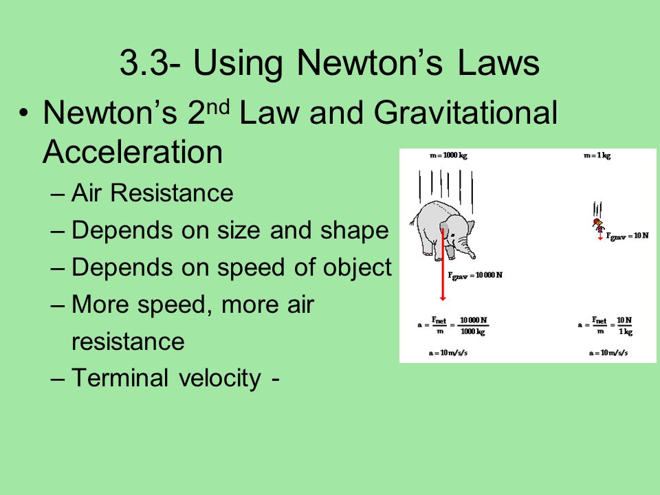 3.3- Using Newton's Laws Newton's 2nd Law and Gravitational Acceleration. Air Resistance. Depends on size and shape.