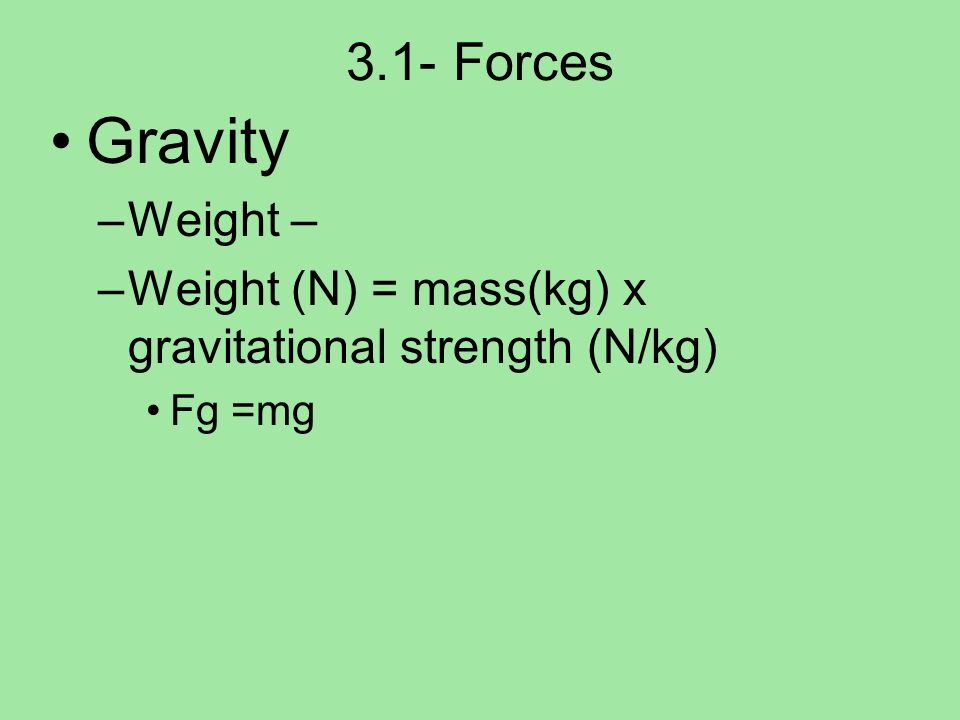 Gravity 3.1- Forces Weight –