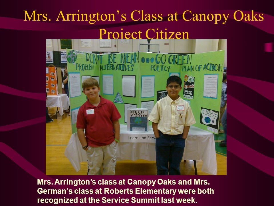 Mrs. Arrington's Class at Canopy Oaks Project Citizen
