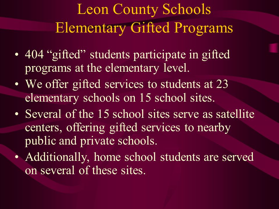Leon County Schools Elementary Gifted Programs