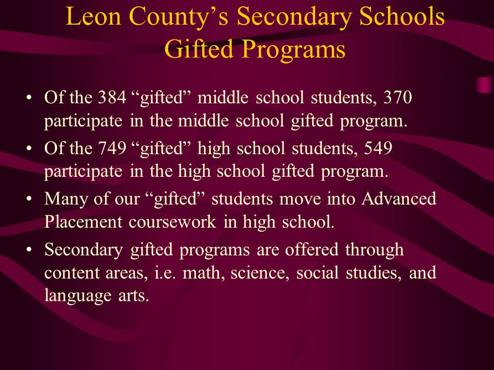 Leon County's Secondary Schools Gifted Programs