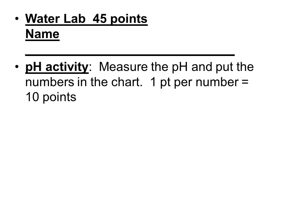Water Lab 45 points Name ______________________________