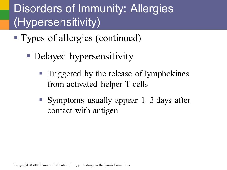 Disorders of Immunity: Allergies (Hypersensitivity)