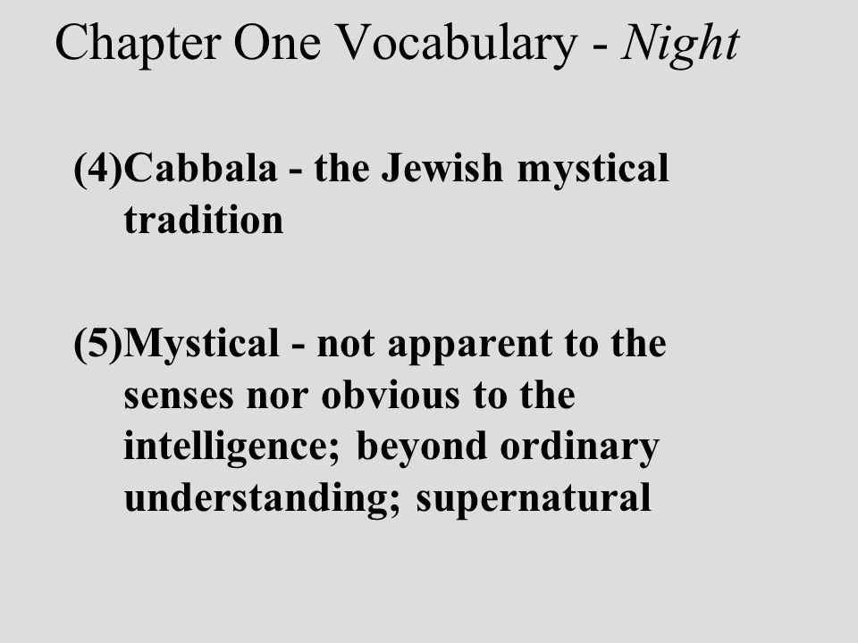Chapter One Vocabulary - Night
