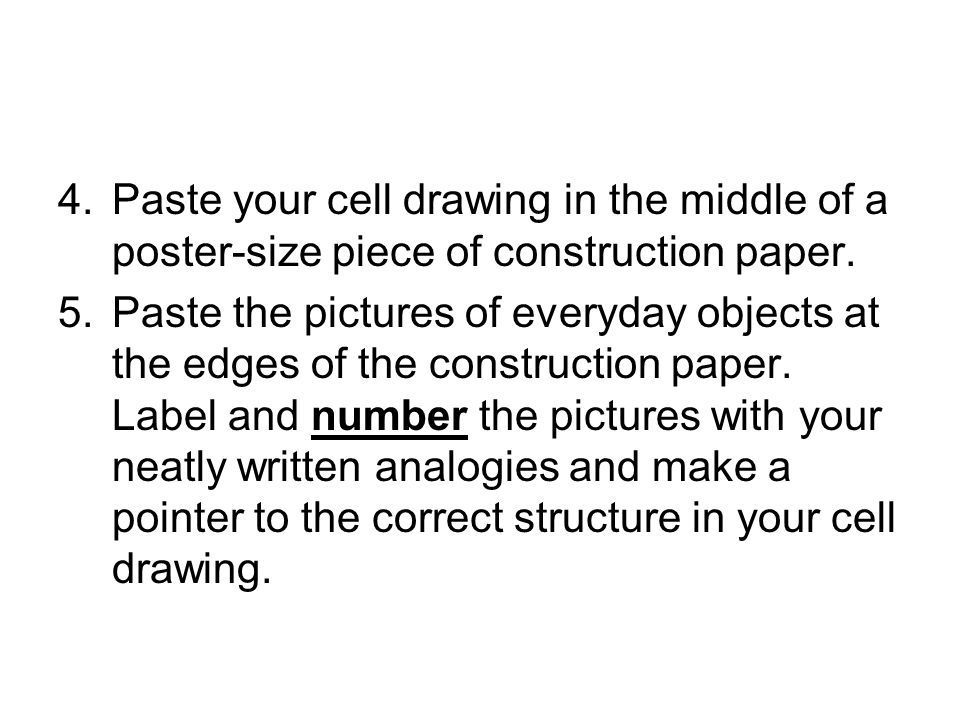 Paste your cell drawing in the middle of a poster-size piece of construction paper.
