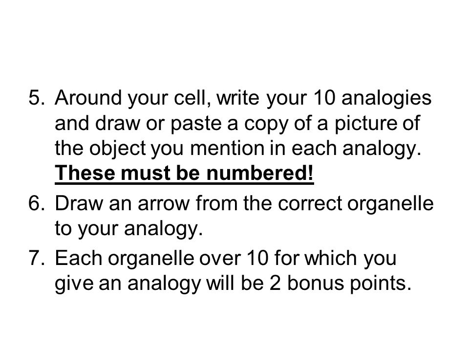 Around your cell, write your 10 analogies and draw or paste a copy of a picture of the object you mention in each analogy. These must be numbered!