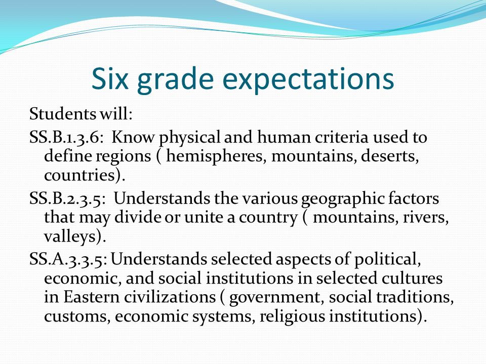 Six grade expectations