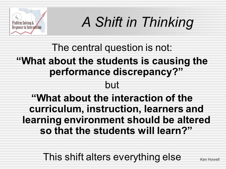 A Shift in Thinking The central question is not: