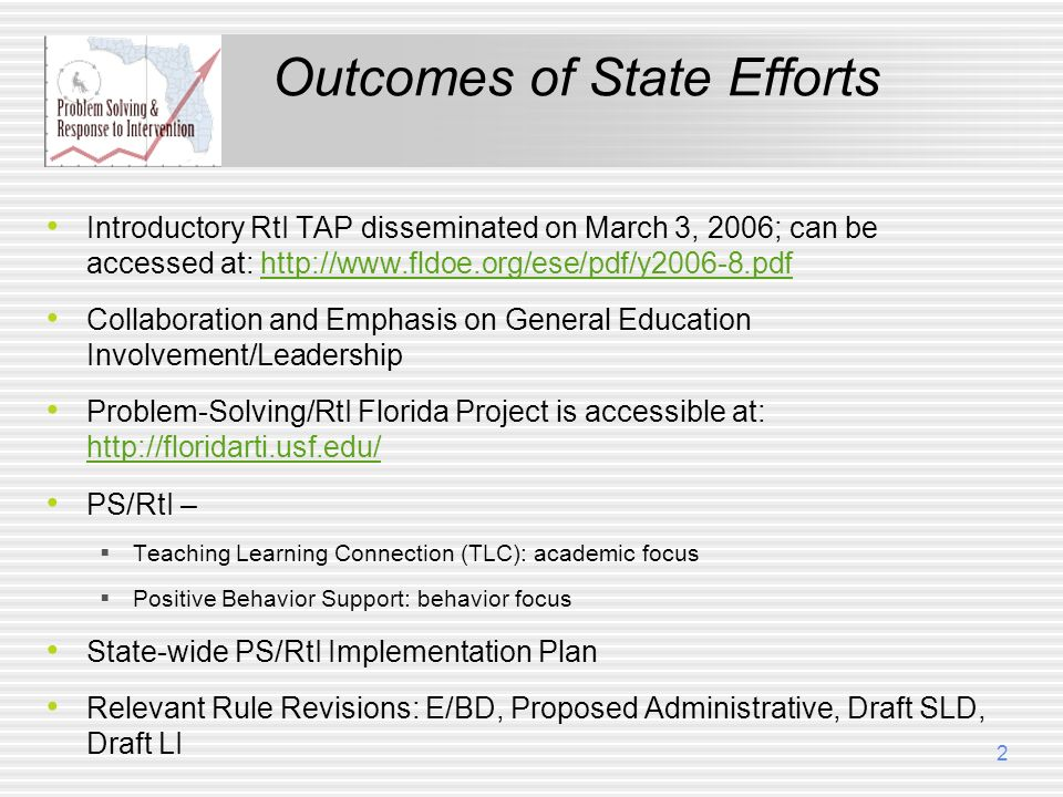 Outcomes of State Efforts