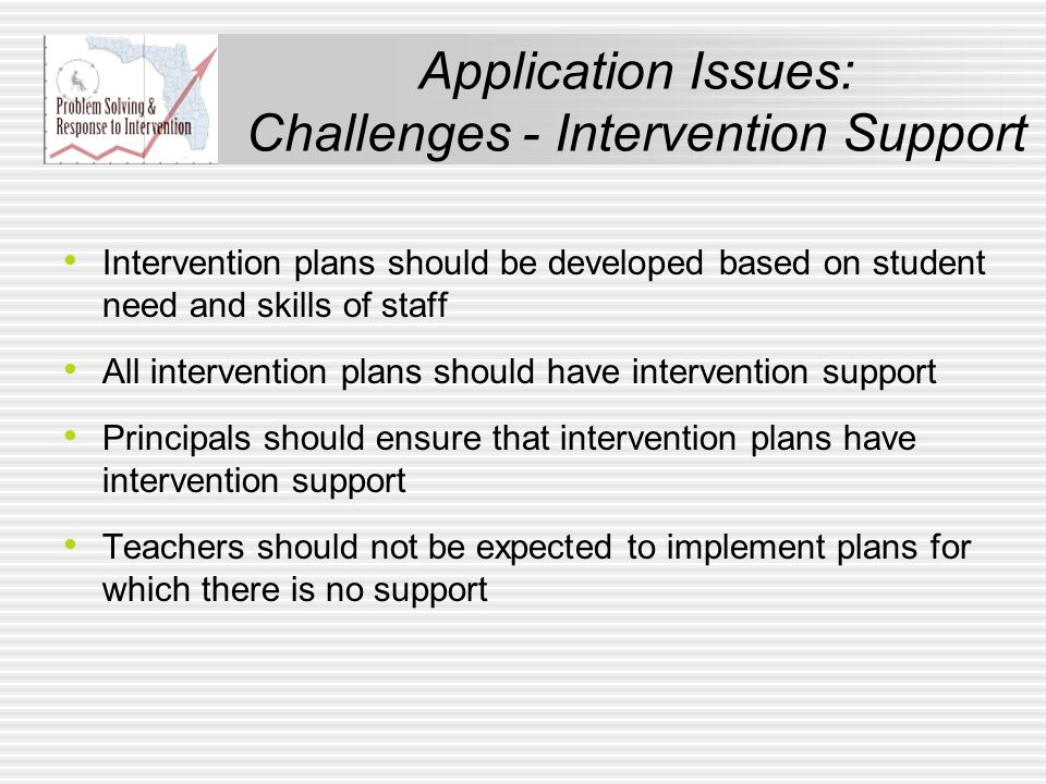 Application Issues: Challenges - Intervention Support