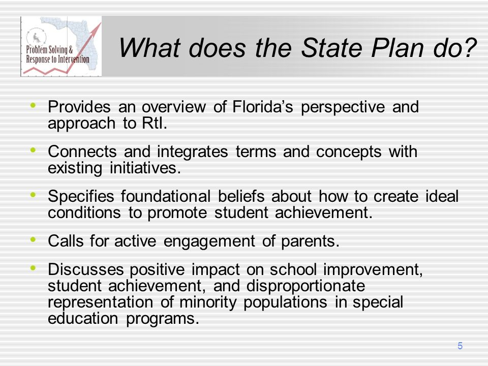 What does the State Plan do